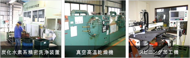 炭化水素系精密洗浄装置、真空高温乾燥機、スピニング加工機